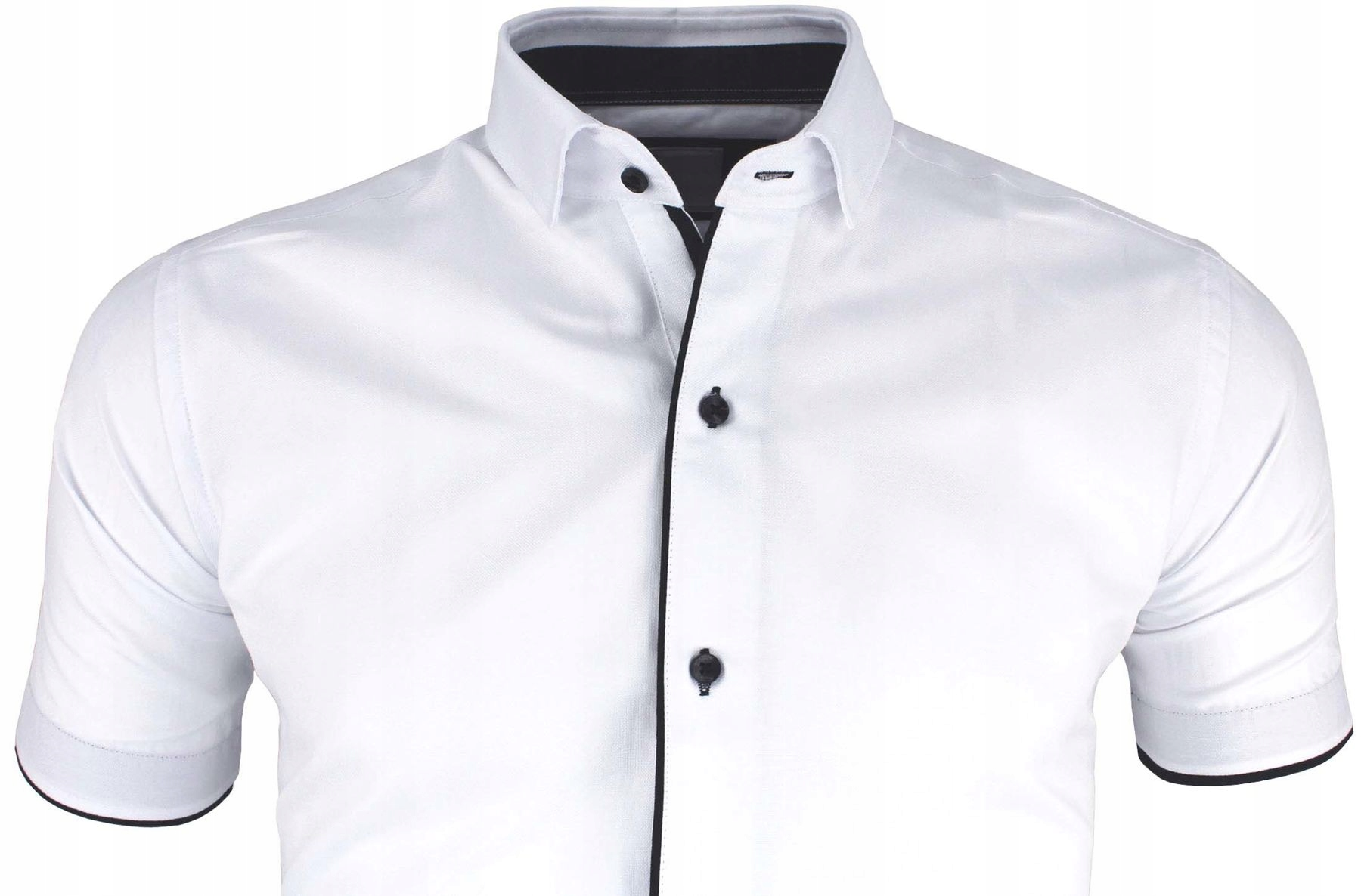 Biała Koszula Męska Granatowe wst do garnituru 3XL  i9AgK