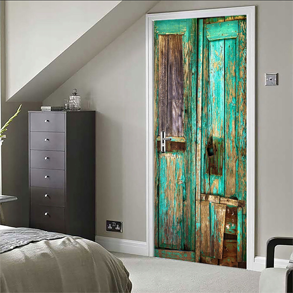 1ks Drevená nálepka na dvere Staré renovované dvere
