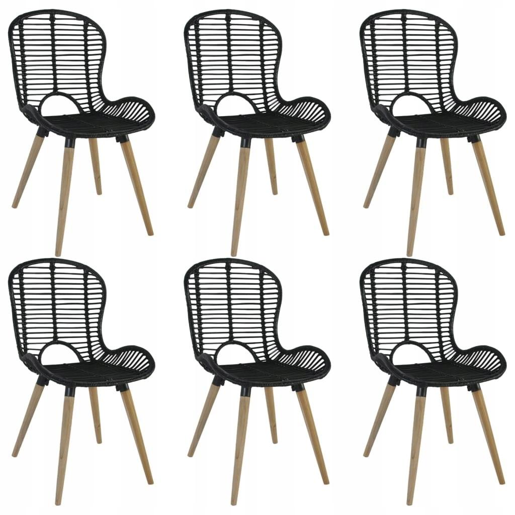 Jedálenské stoličky, 6 ks, čierny, prírodný ratan