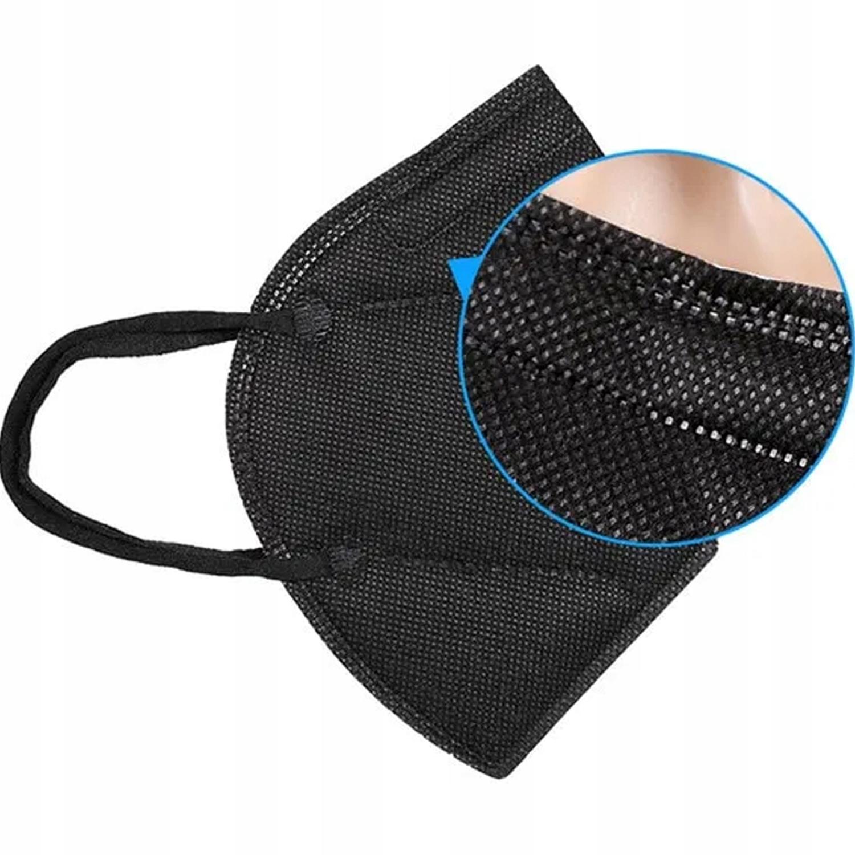 5 x MASKA ochronna z FILTREM pyłowym KN95 czarna Waga produktu z opakowaniem jednostkowym 1 kg