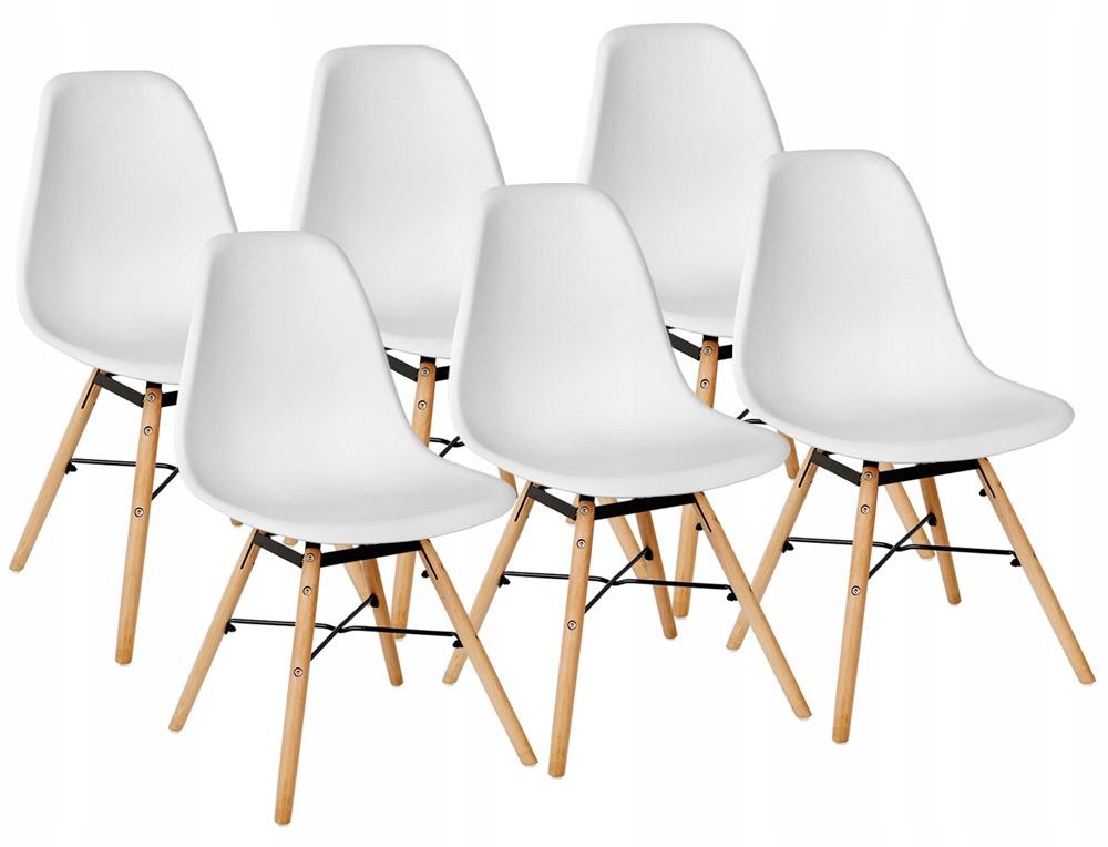 Sada 6 stoličiek jedálenské stoličky Retro White