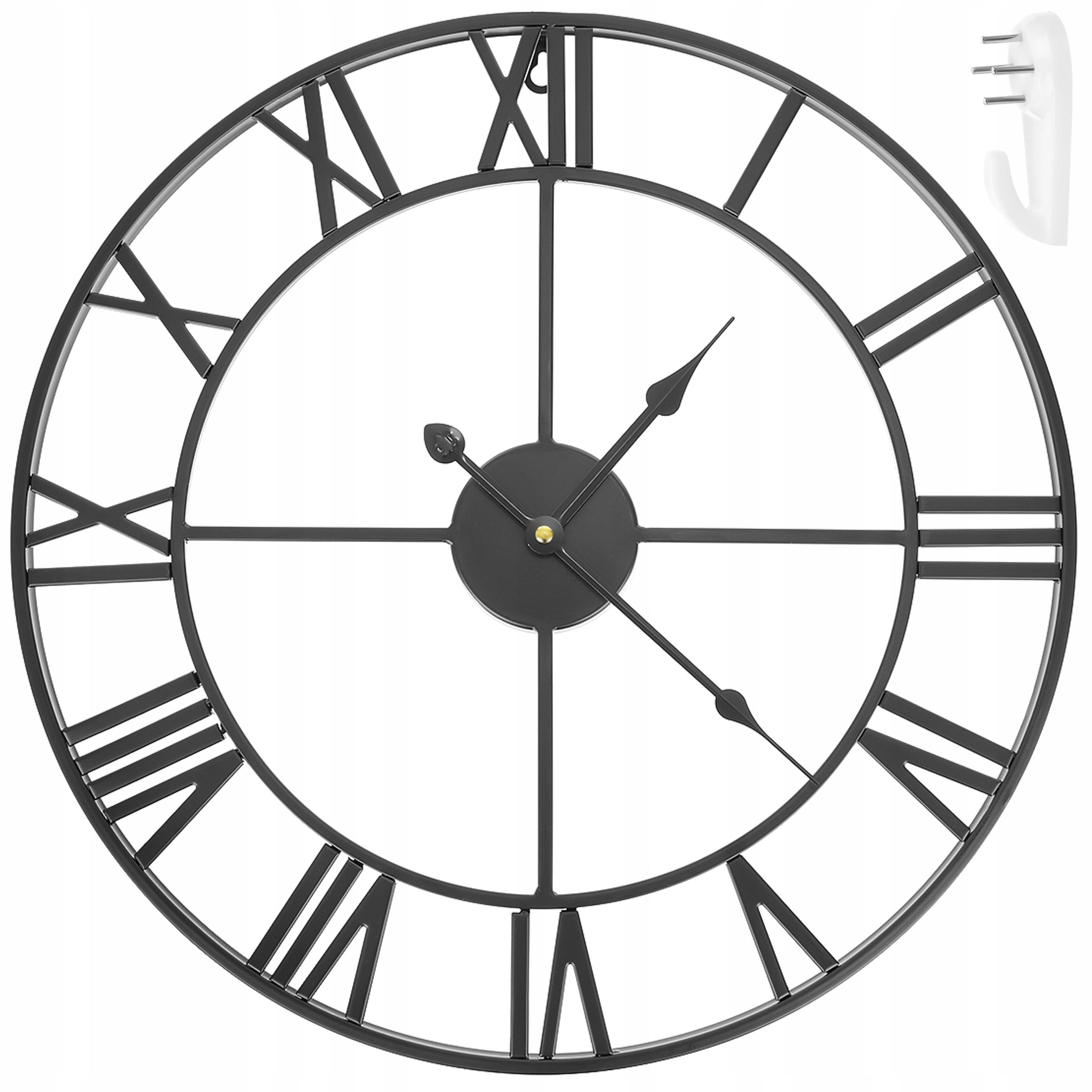 Zegar Ścienny Retro Loft Rzymski 3D Vintage Duży