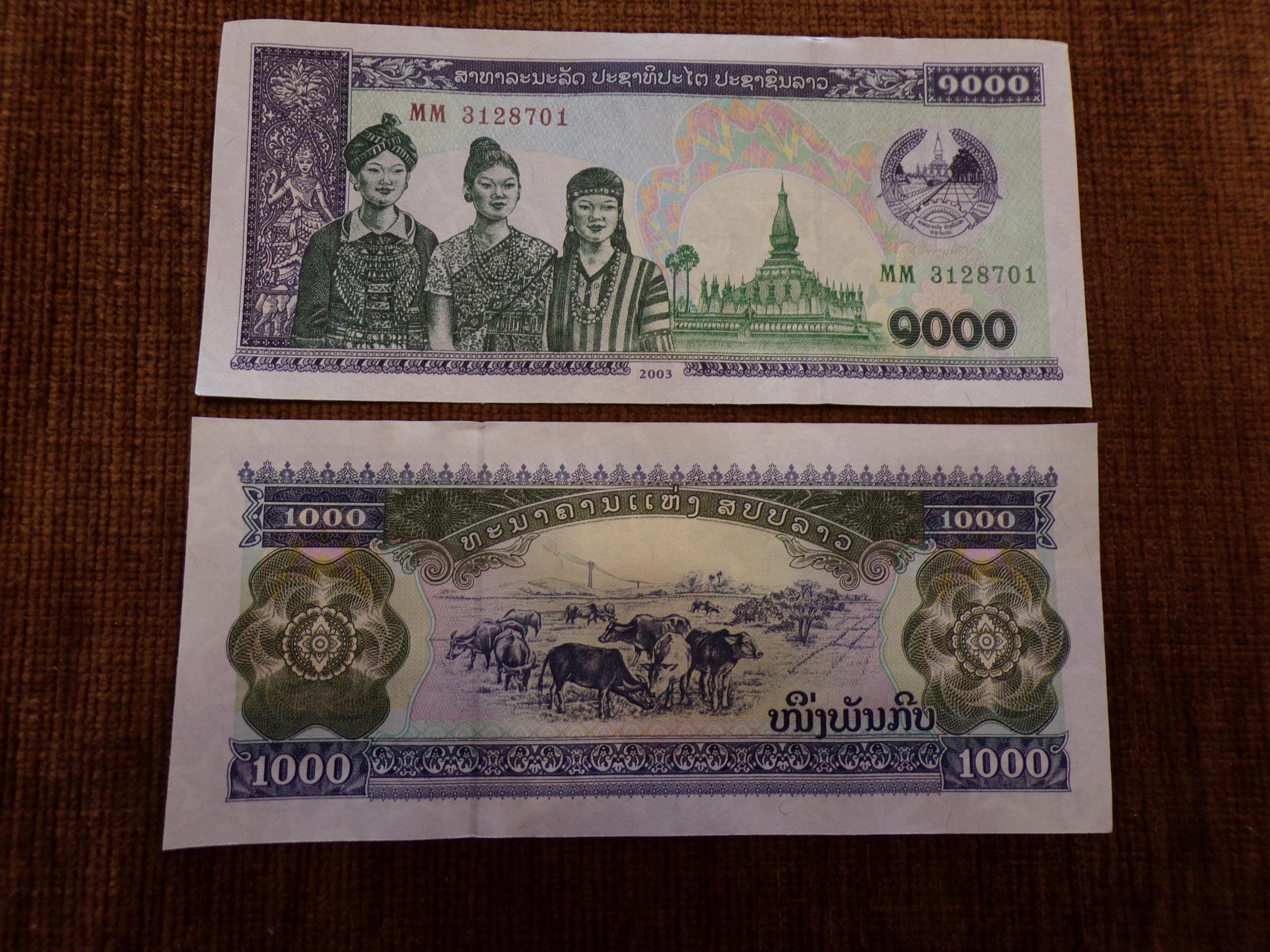 052.LAOS 1000 KIP UNC