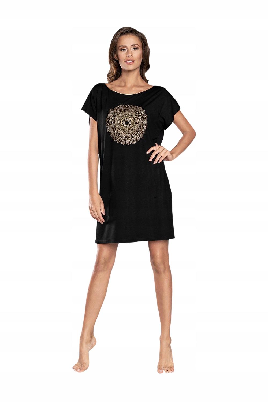 Koszula nocna z wiskozy Mandala *L* czerń