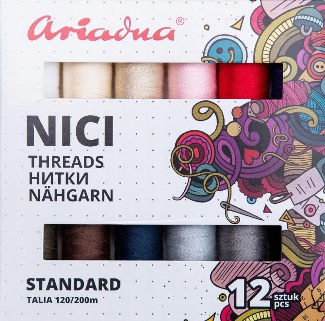 Zestaw nici ARIADNA TALIA 120/200m 12 sztuk kolory