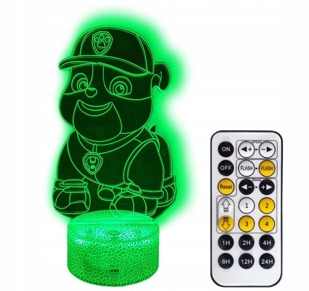 PSI PATROL RUBBLE LAMPKA NOCNA 3D LED + PILOT