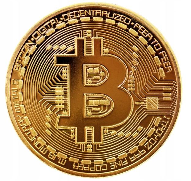 Bitcoin BTC kolekcjonerska moneta złota. Wys z PL