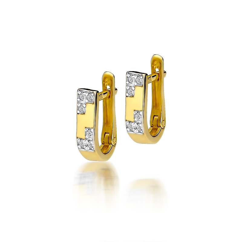 Złote Kolczyki 585 Brylanty 0,10 ct - Klasyczne