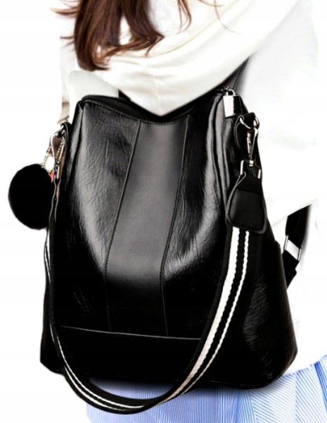 кожаный Элегантный женский большой ретро черный рюкзак
