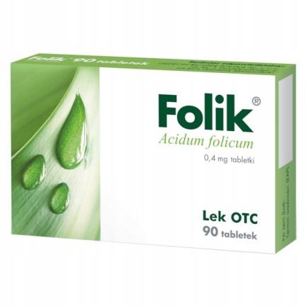 Folik 0,4 mg, 90 tabletek kobieta ciąża foliowy