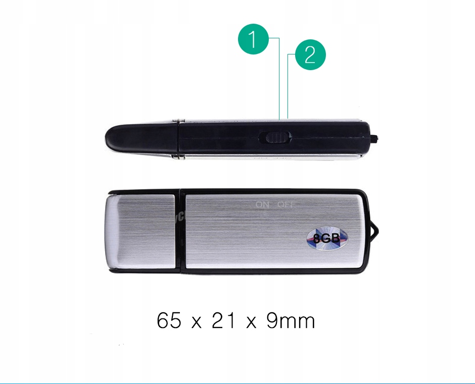 MINI DYKTAFON PENDRIVE PODSŁUCH SZPIEGOWSKI USB Zasilanie akumulatorowe
