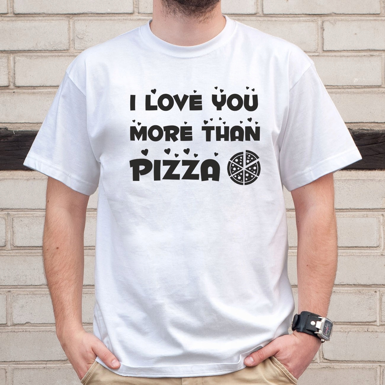 I love you more than pizza - koszulka dla niego