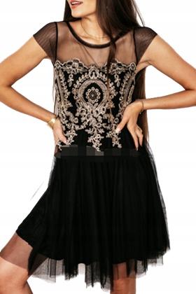 Sukienka na imprezę szyfonowa czarna S