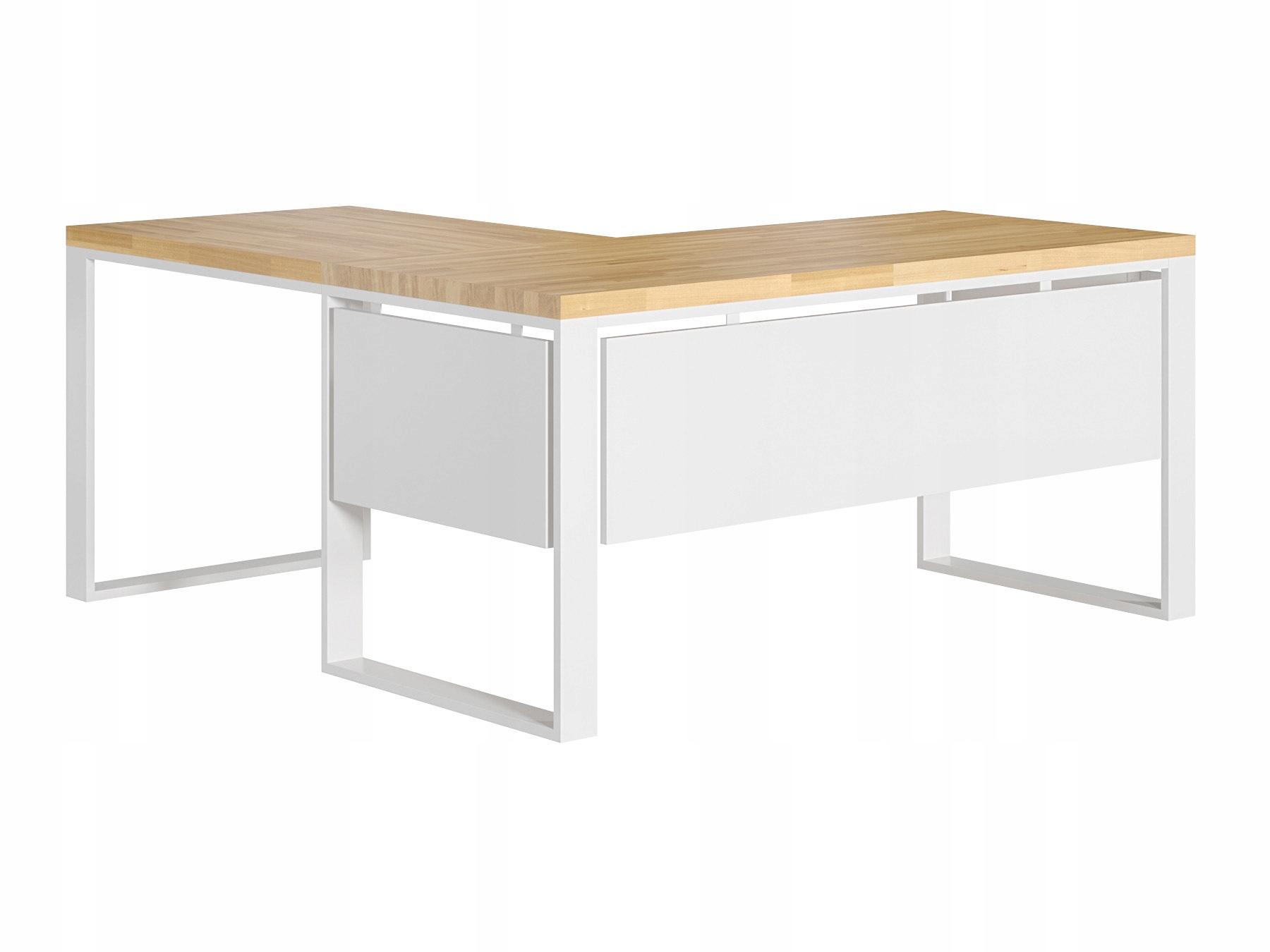 Białe biurko narożne z drewnianym blatem + blendy