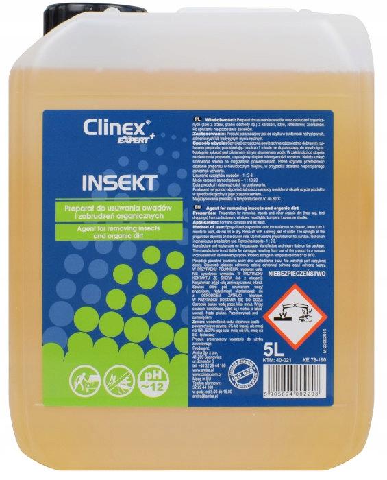CLINEX INSEKT 5L удаляет насекомых с тела боковых окон
