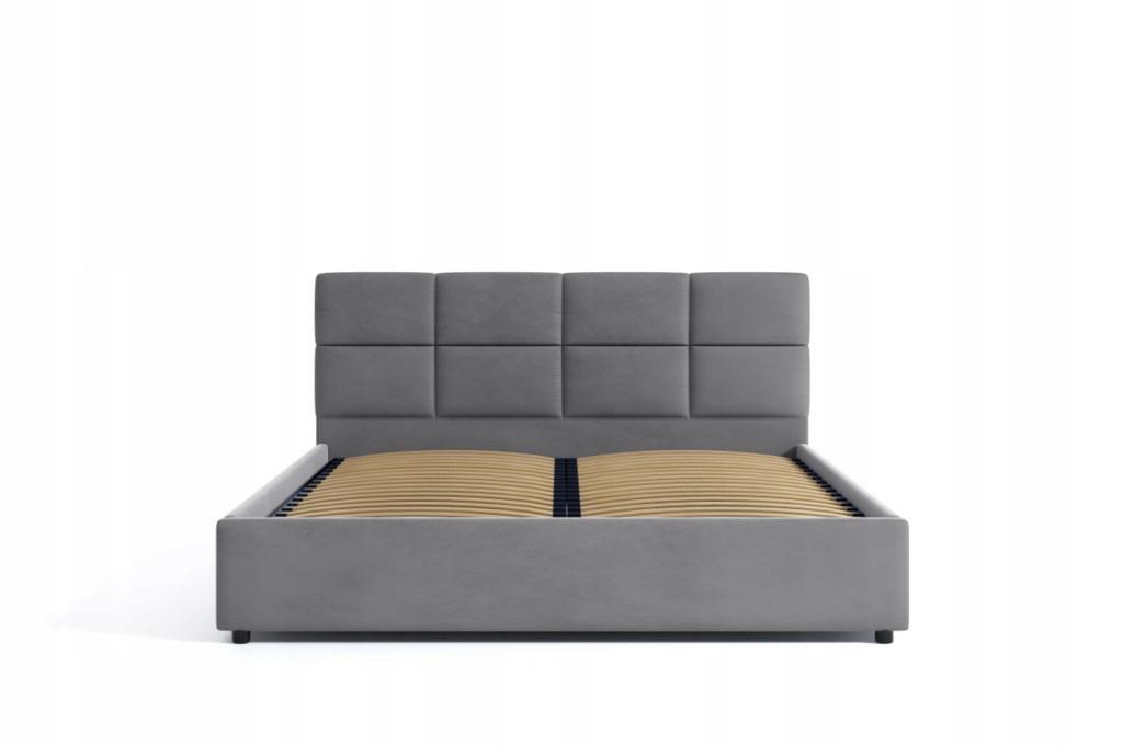 Łóżko Tapicerowane Popiel Welurowe Stelaż 160x200 Marka Inny producent