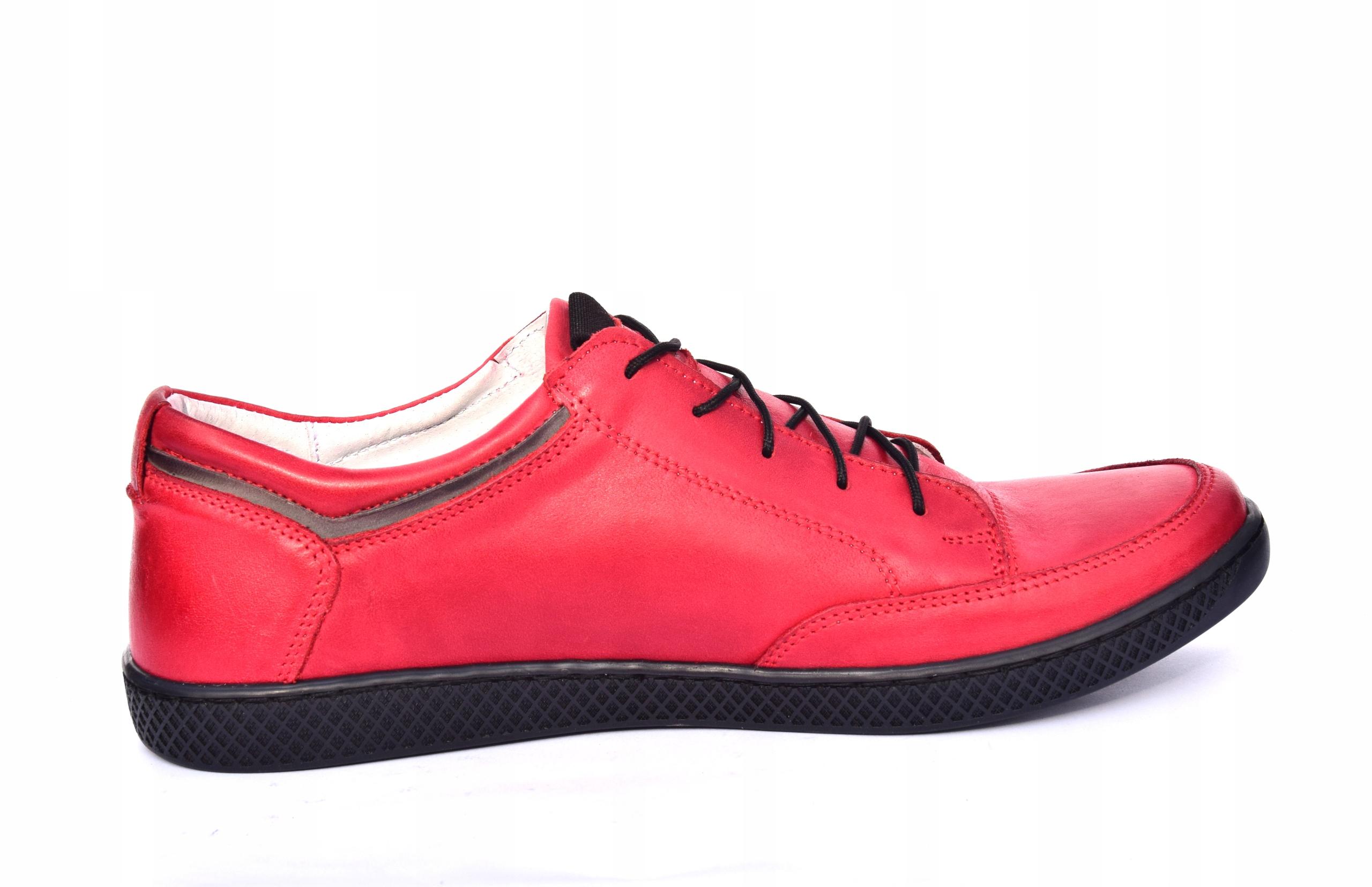 Skórzane czerwone sznurowane półbuty czerwone 0447 Rozmiar 43