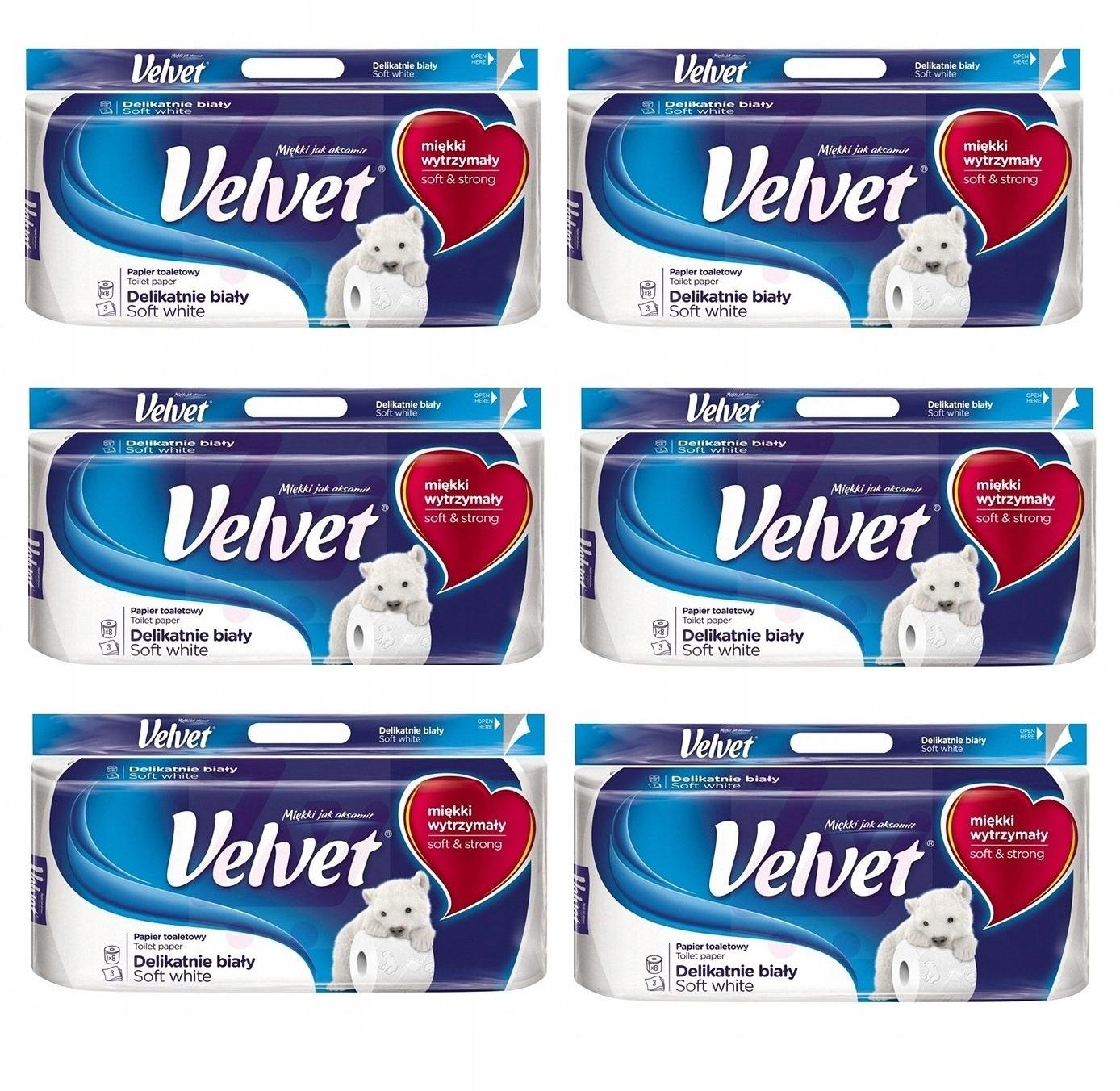Туалетная бумага Velvet 3 wastwy мощный 8 рулонов x6