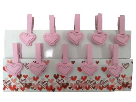 Набор из 10 скрепок, розовые сердечки
