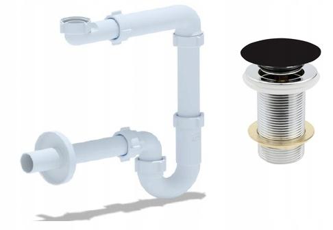 Настенный сифон для умывальника + MAT BLACK CAP