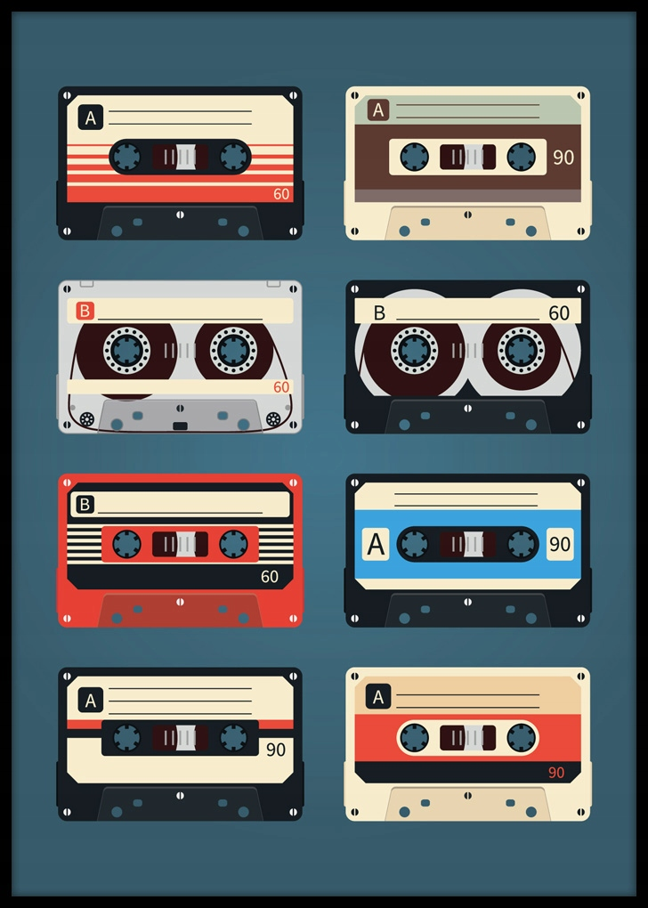 Plagát Retro Cassette Tape - 50x70cm