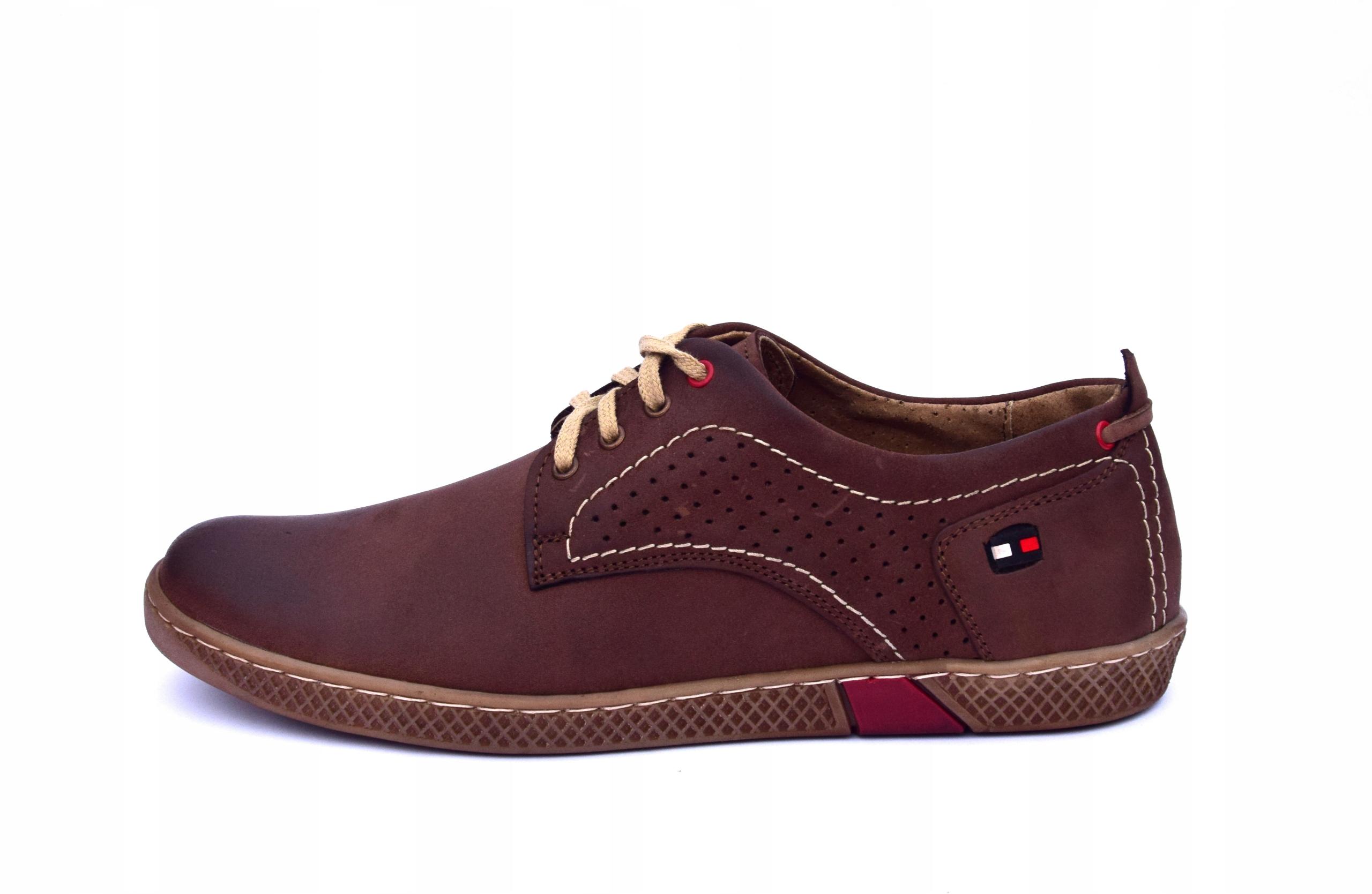 Półbuty skórzane męskie brązowe buty polskie 302 Marka inna