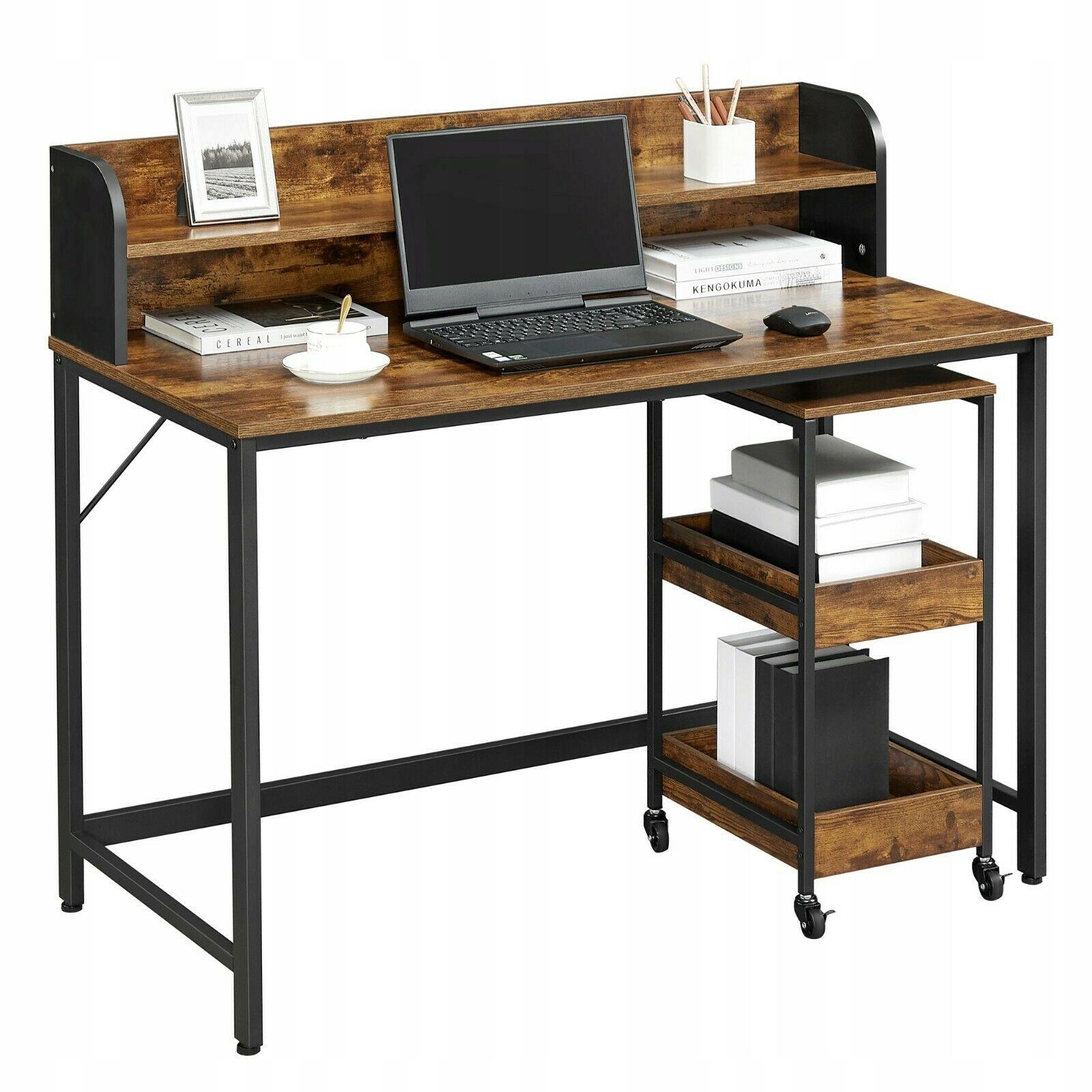 Biurko komputerowe z regałem i półkami rustykalne