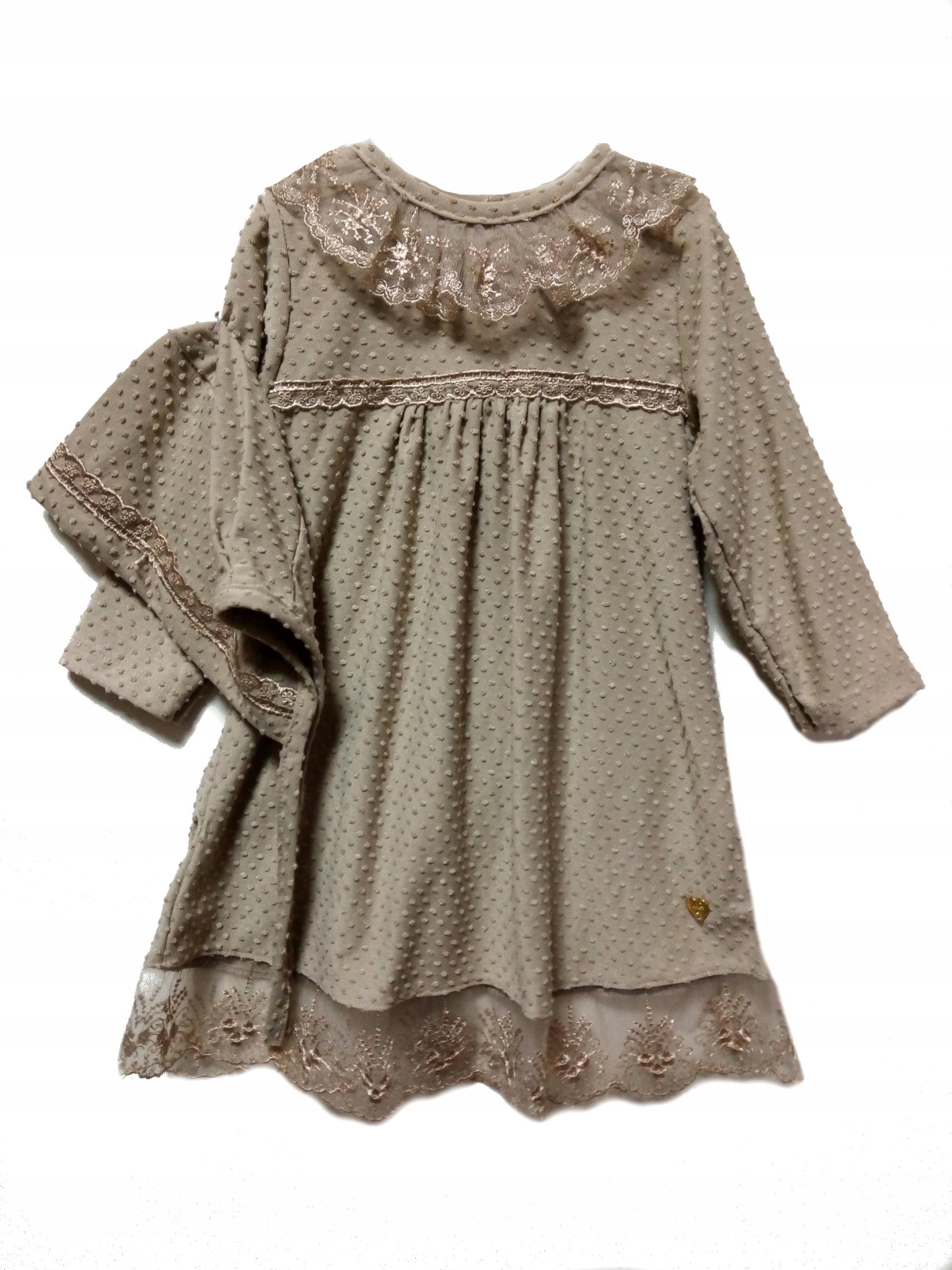 Béžové šaty s čipkou a retro klobúkom, veľkosť 92