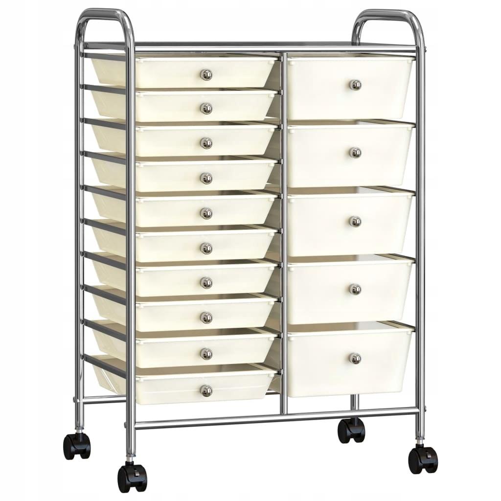 vozík XXL s a1s s 15 zásuvkami, biely, plast
