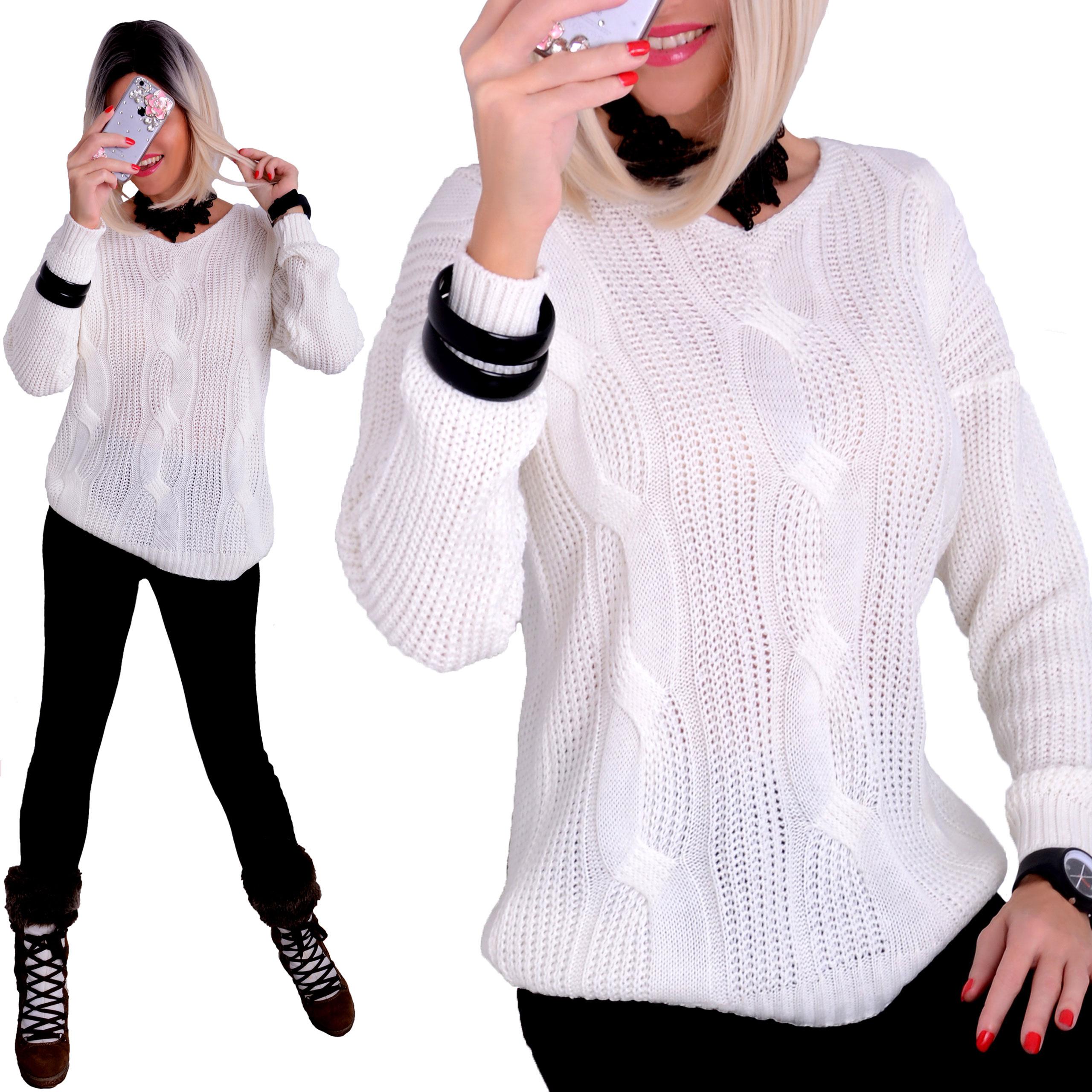 Modny Sweter Cud Warkocz Ciepły Luźny Oversize 688