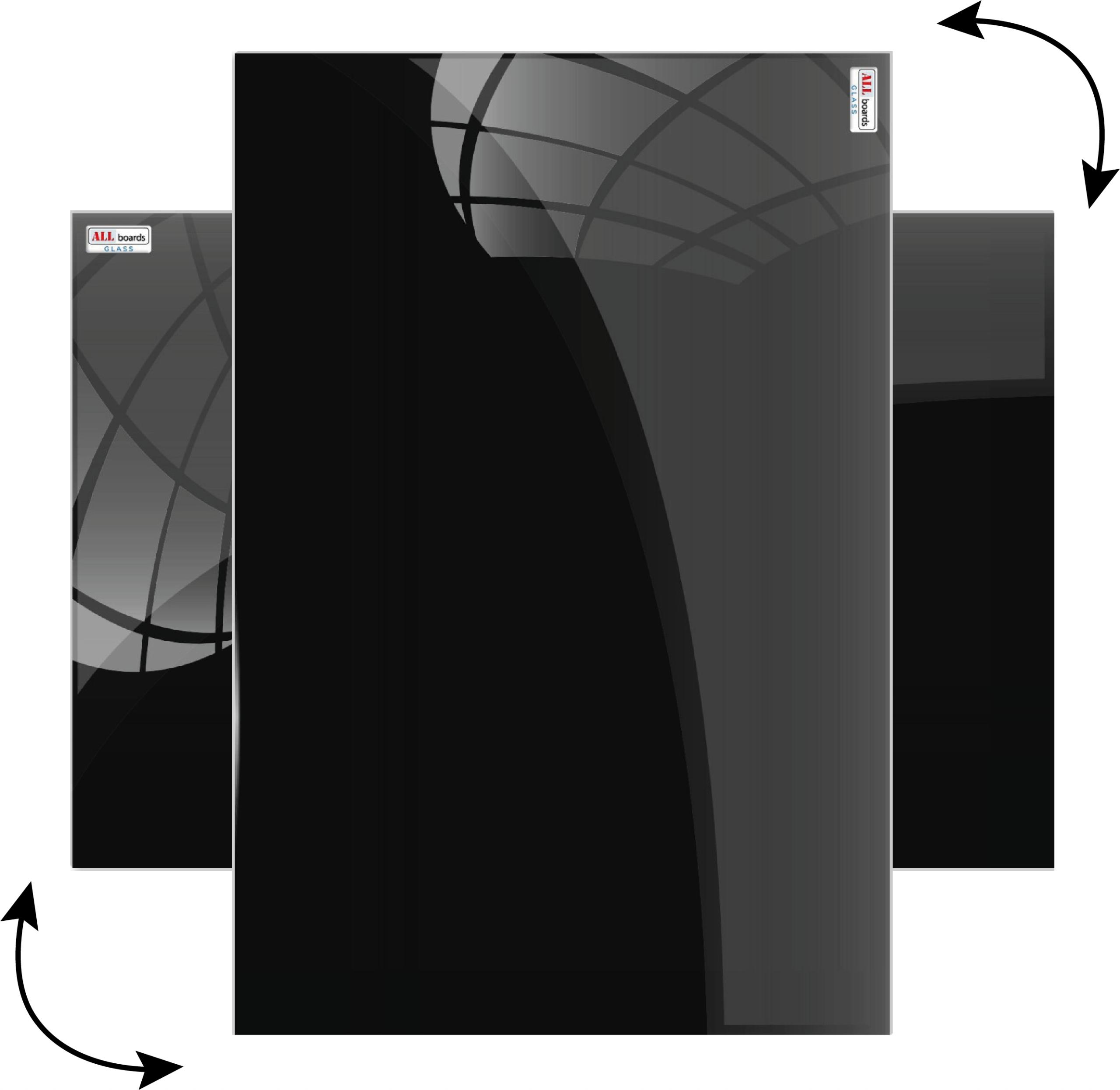Sklenená magnetická tabuľa ČIERNA 90x60 + GRATIS Šírka 90 cm