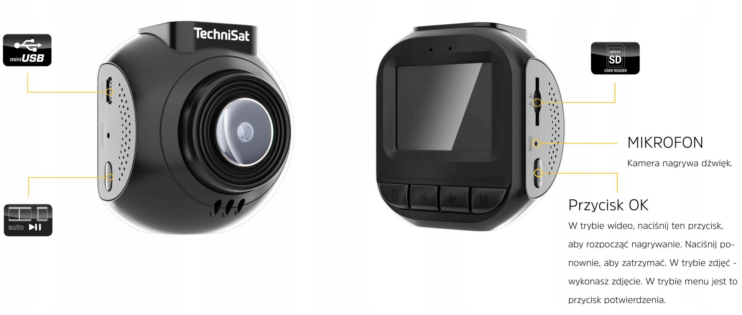 Kamera Samochodowa HD Wideo-Rejestrator Kamerka PL Komunikacja GPS