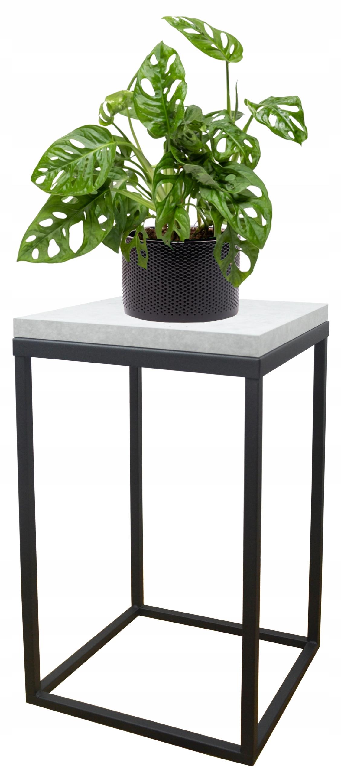Подставка для растений металлическая loft черная столешница Bright Concrete 40см