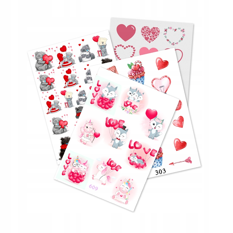 Наклейки на День святого Валентина Love Heart 7.5x10.5 узоры