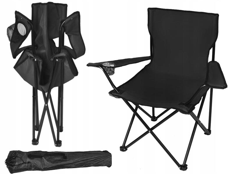 Krzesło Turystyczne Wędkarskie Składane Fotel Dark