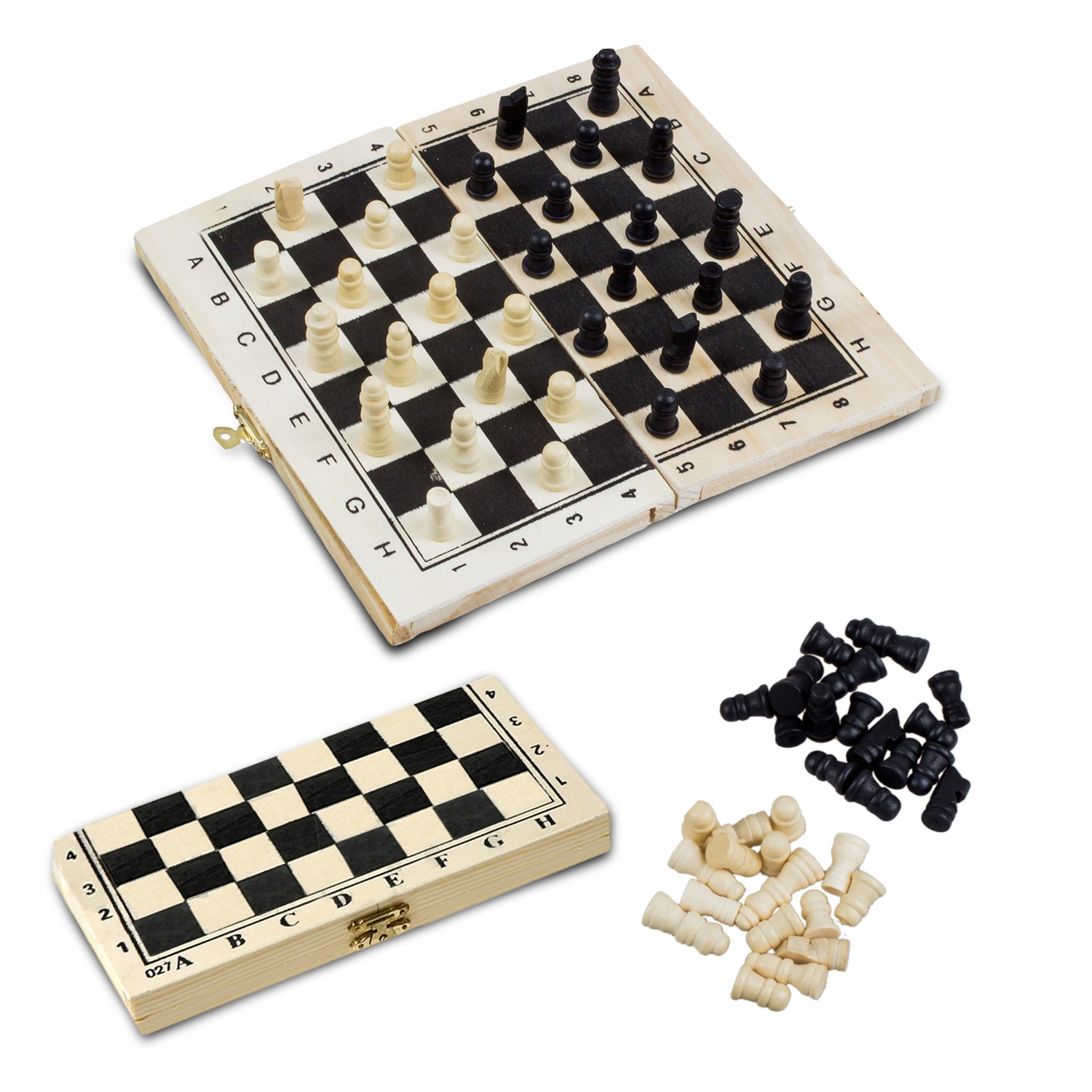 Item TOURNAMENT WOODEN CHESS CHECKERS