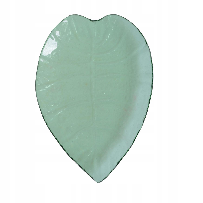 Servírovací tanier dekoratívne list zeleného skla vintage