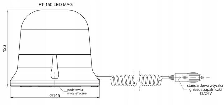LAMPA OSTRZEGAWCZA KOGUT LED 12V/24V ft-150 Numer katalogowy części FT-150 M30