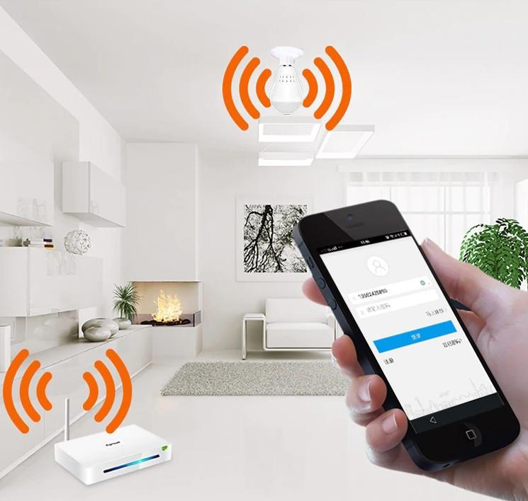 Kamera IP WiFi monitoring 360 w żarówce LED audio Rozdzielczość 1.3 Mpx