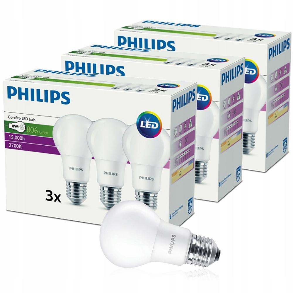 Купить 9x E27 8W LED лампа = 60W 806lm 2700K PHILIPS на Otpravka - цены и фото - доставка из Польши и стран Европы в Украину.