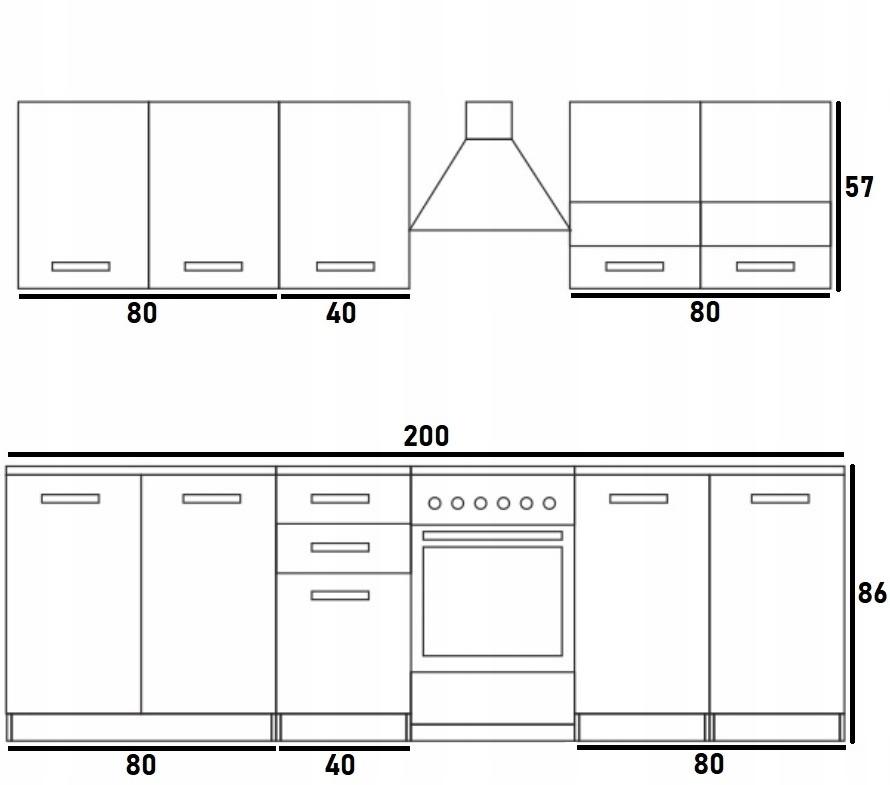 Zostava kuchynského nábytku s doskami Kuchynský dubový lak Kód výrobcu MKZP-091-ZS_200-125-02