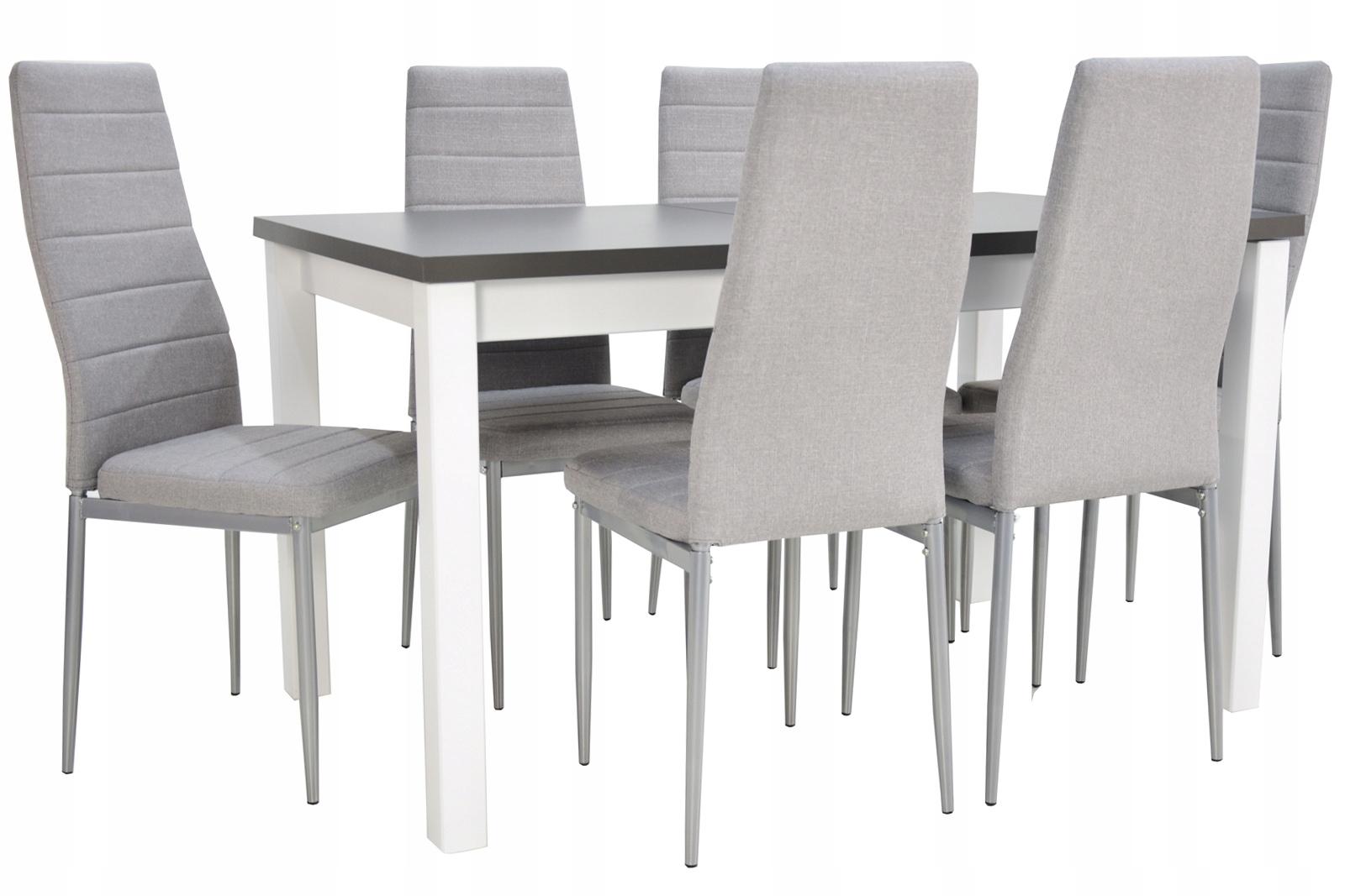 BIAŁO SZARY ZESTAW Stół do 180cm i 6 krzeseł