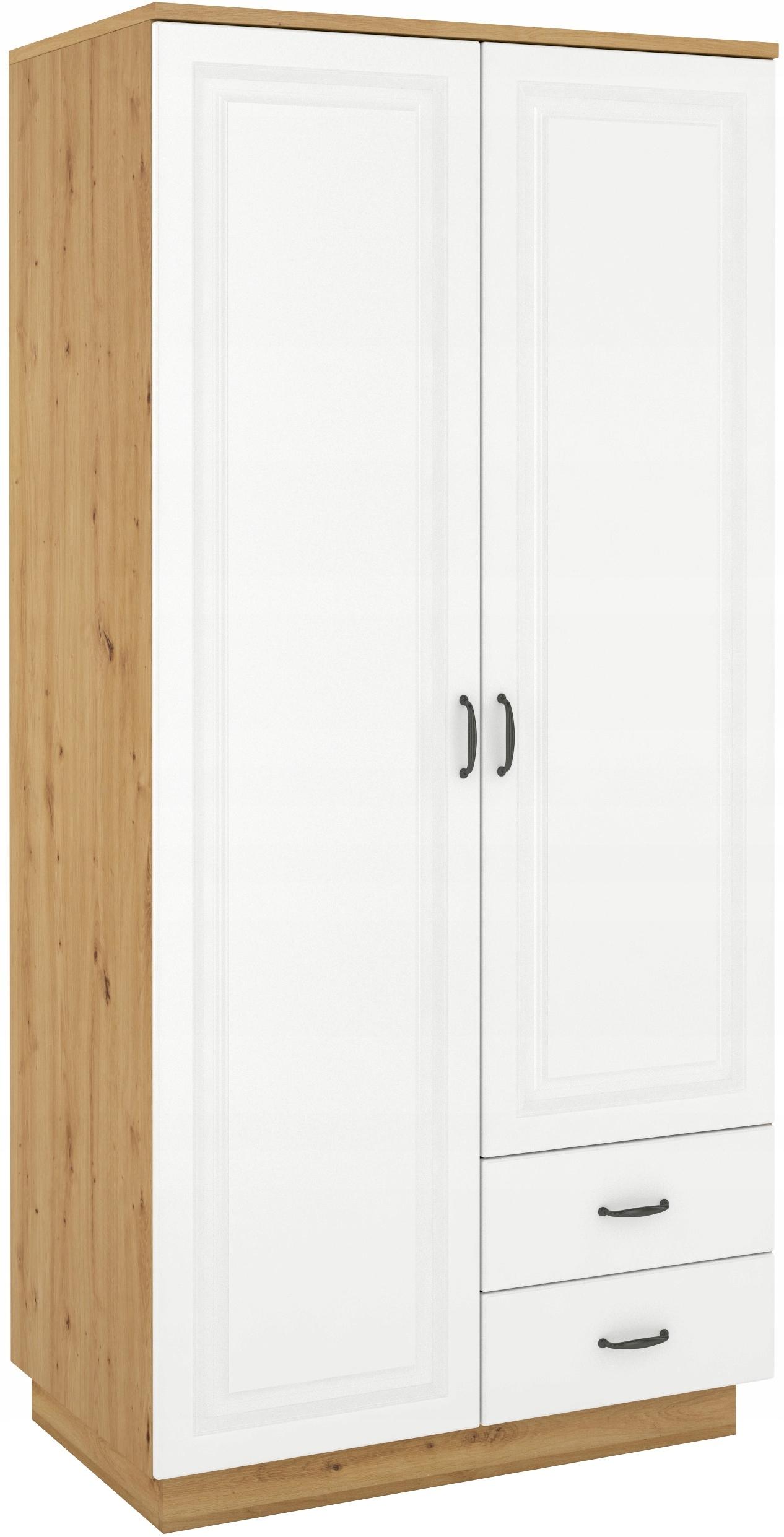 2-dverová skriňa 120 cm remeselnícky dub biela frézovaná