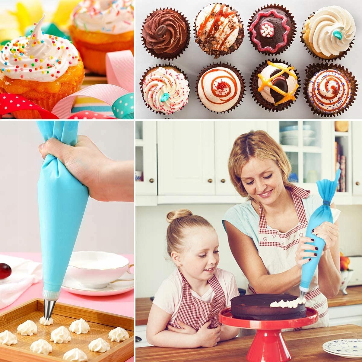 RĘKAW CUKIERNICZY dekorator tortów SILIKON 26 ELEM Kolor niebieski