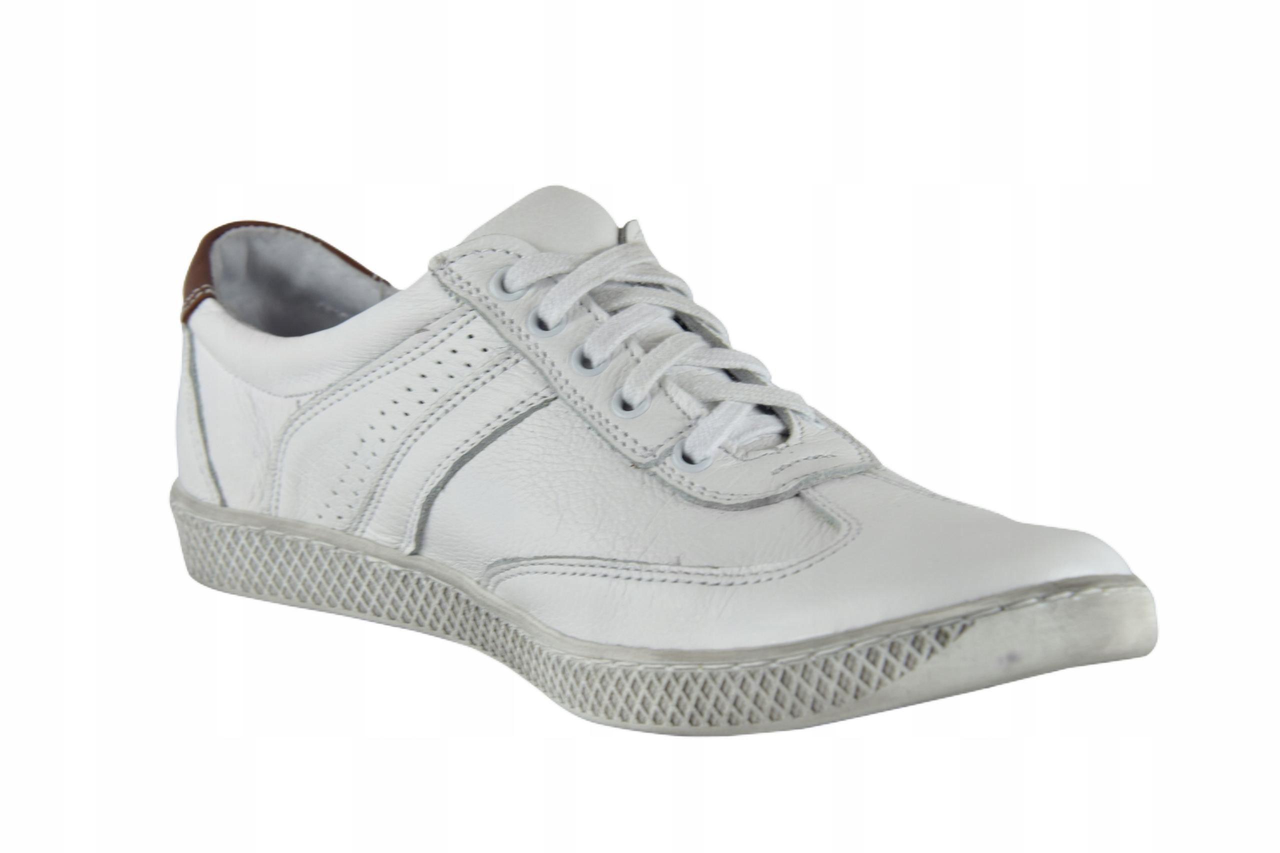 Skórzane męskie białe sznurowane buty męskie 0446 Długość wkładki 29.3 cm