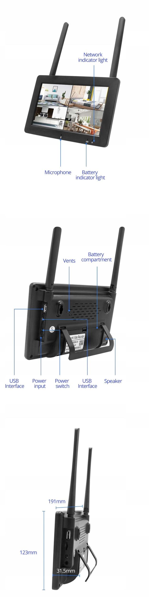 ZESTAW KAMER WIFI Z EKRANEM DOTYKOWYM LCD 1080p Funkcje aplikacja na telefon detekcja ruchu