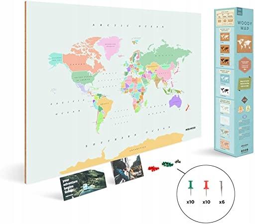 SVETOVÁ RETRO MAPA - mapa špendlíkov Miss Wood