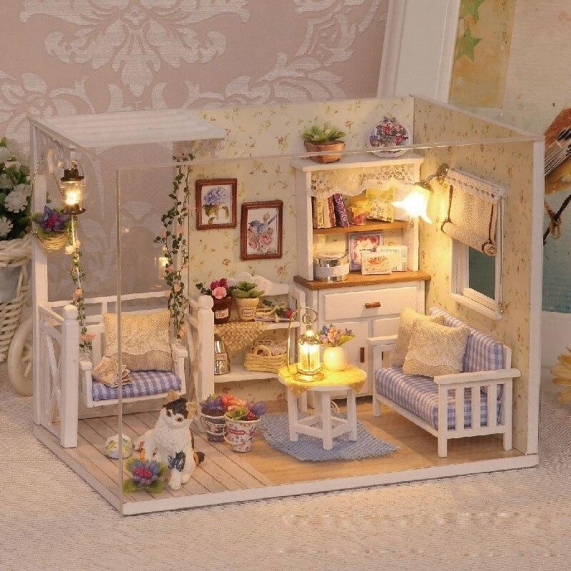 Drevený diorámový retro nábytok pre bábiky