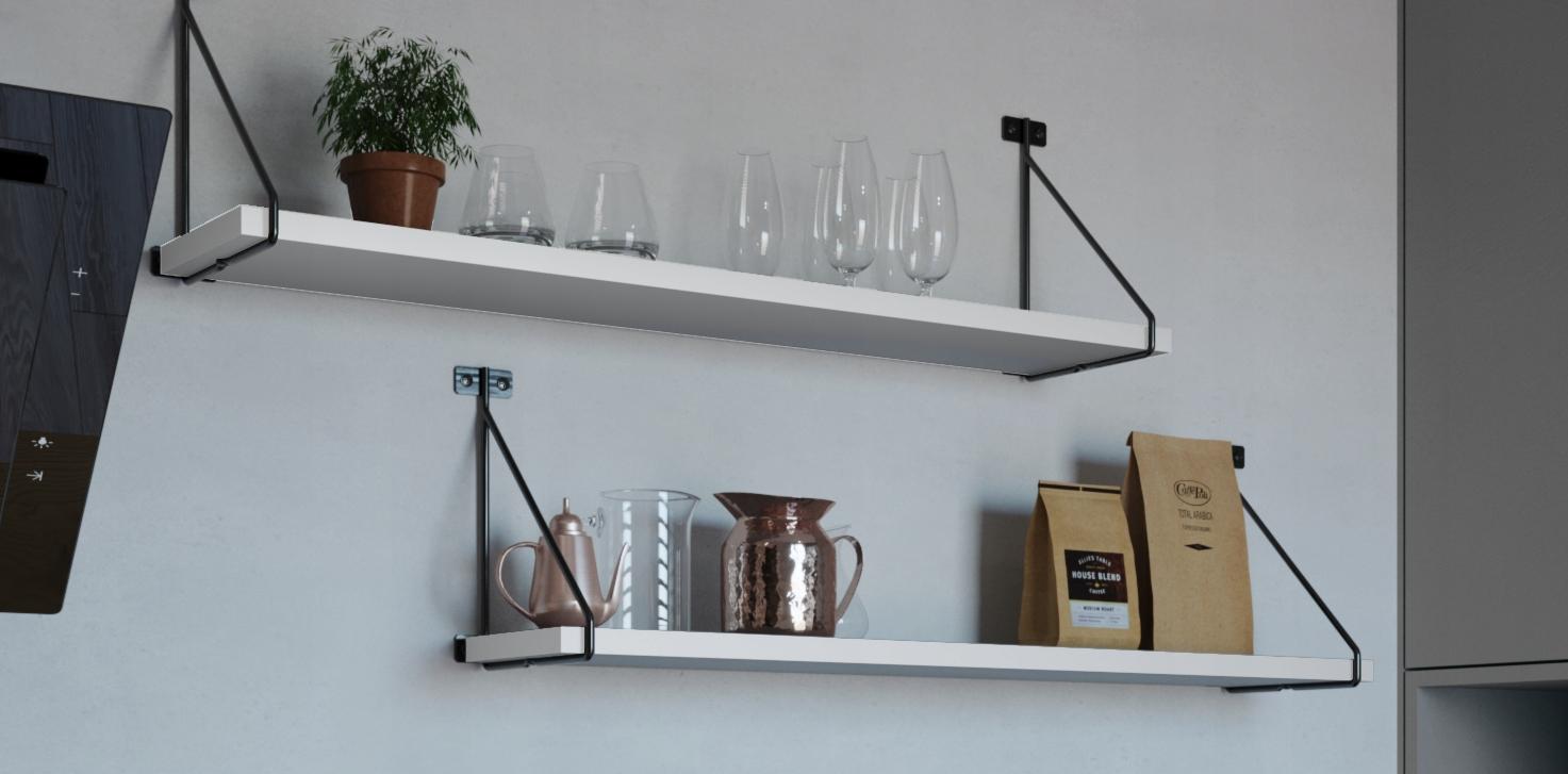 Nowoczesna półka wisząca Kuchnia BIAŁA 80 cm