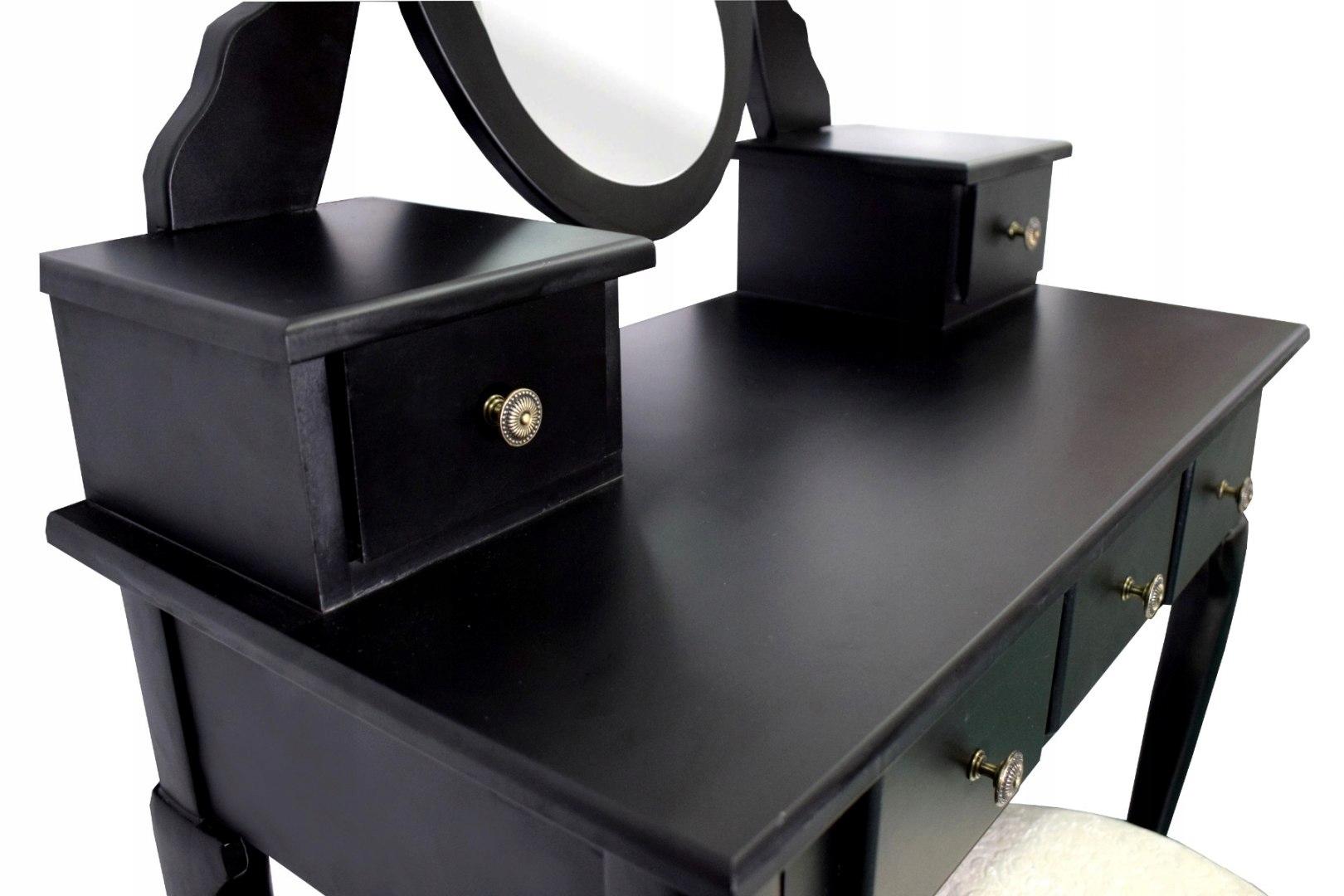 Косметический комод ЧЕРНЫЙ Зеркало большое Табурет Цвет мебели черный